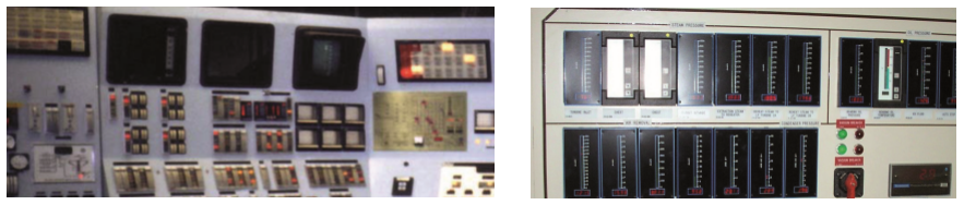 1960s era nuclear control panel from an aging I&C room with outdated meters compared to an upgraded instrument control panel with OTEK meters.